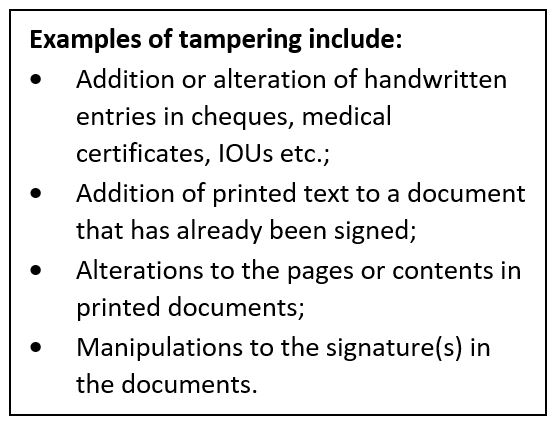 Examples of tampering